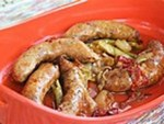 Roasted Sausages with Beer-braised Onions picture
