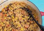 spanish rice with  black beans & chicken picture