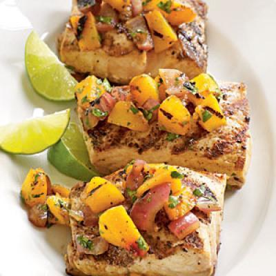 Grilled Halibut with Peach and Pepper Salsa picture