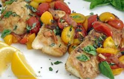 Pan-Fried Trout with Tomato Basil Sauté  picture