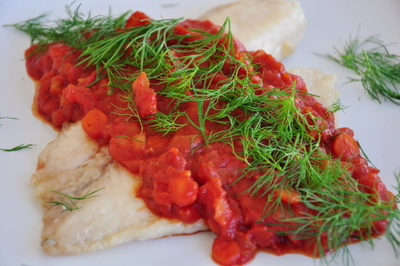 Tilapia Fillet With Tomato Sauce And Dill Weed picture