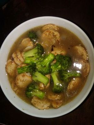 tofu broccoli and oyster sauce {brokoli dan tofu saus tiram } picture